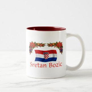 Croatian Sretan Bozic (Merry Christmas) Two-Tone Coffee Mug
