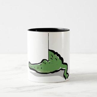 croc around the corner Two-Tone coffee mug