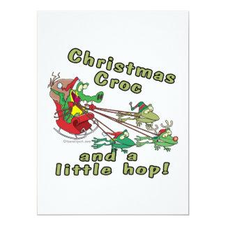croc del navidad ranas y cocodrilo pequeñas de un invitación 16,5 x 22,2 cm