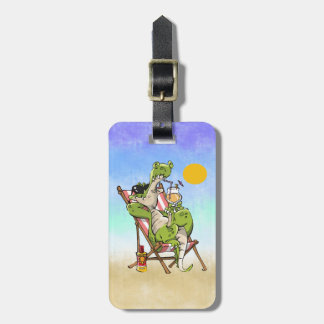 CROC RELAXING IN CHAIR WITH DRINK LUGGAGE TAG