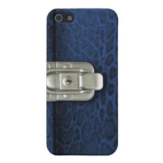 Crocdile finish clasped case design, blue case for iPhone 5