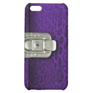 Crocdile finish clasped case design, purple iPhone 5C covers