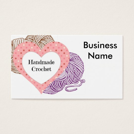 Knitting Logo Business Cards : Crochet biz card with yarns and heart shaped logo zazzle