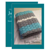 Crochet Blanket Boy Baby Shower Invitation
