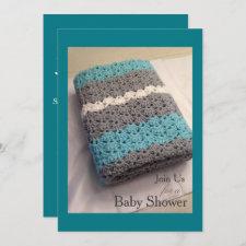 Crochet Blanket Boy Baby Shower Invitation