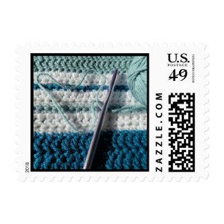 Crochet Blue White Stripes Postage