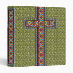 Crochet Cross Pattern Green, Brown, Blue 3 Ring Binder