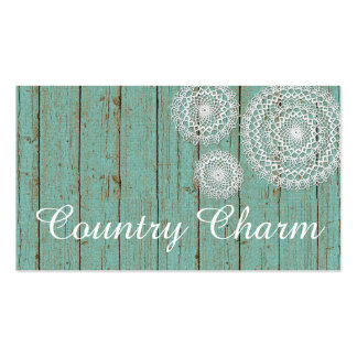 Crochet Doilies on Painted Wood - Country Charm Business Card