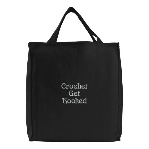 Crochet Get  Hooked Embroidered Tote Bag