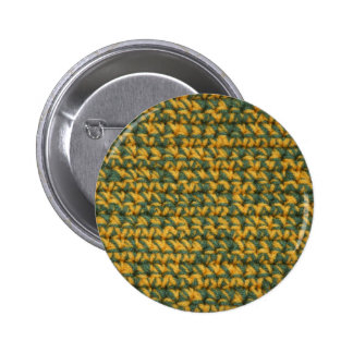 Crochet Green and Gold Pinback Button