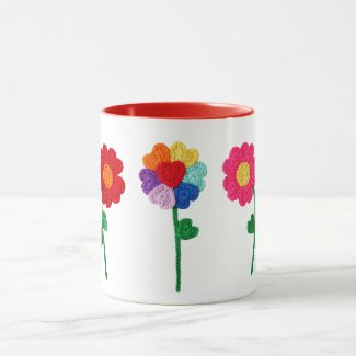 Crochet Heart Flowers Mug
