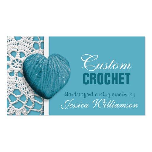 Crochet heart shaped yarn blue business cards zazzle for Heart shaped business cards