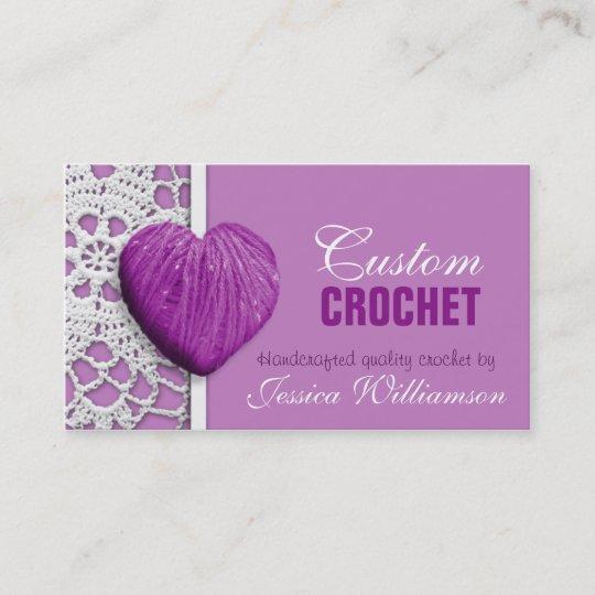Crochet heart shaped yarn purple business cards zazzle crochet heart shaped yarn purple business cards colourmoves