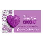Crochet - Heart Shaped Yarn Purple Business Cards