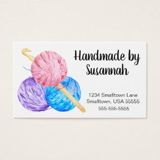 Crochet Hook and Yarn Handmade Business Card