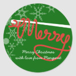 Crochet hook Merry Christmas yarn gift tag sticker