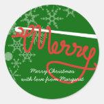 Crochet hook Merry Christmas yarn gift tag sticker