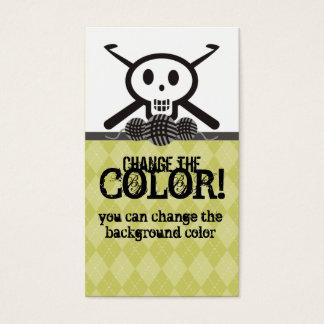 crochet hooks skull with yarn business card