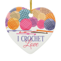 Crochet hooks yarn love Christmas ornament