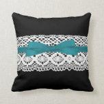crochet lace effect aqua ribbon damask throw pillows