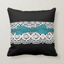 crochet lace effect aqua ribbon damask throw pillow