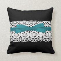 crochet lace effect aqua ribbon damask throw pillow