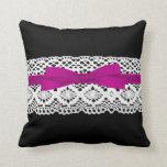 crochet lace effect pink ribbon damask throw pillows