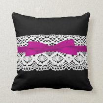 crochet lace effect pink ribbon damask throw pillow
