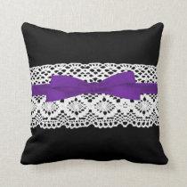 crochet lace effect purple ribbon damask throw pillow