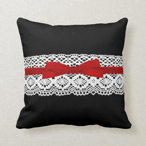 crochet lace effect red ribbon damask throw pillow