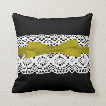 crochet lace effect yellow ribbon damask throw pillow