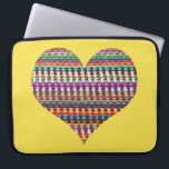 """Crochet Laptop Sleeve - Yarn Laptop Sleeve<br><div class=""""desc"""">This fun laptop sleeve features a picture of my own colorful,  crochet afghan in a heart shape! Great gift for yarn and crochet lovers!</div>"""