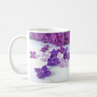 Crochet Lilac Flowers Coffee Mug