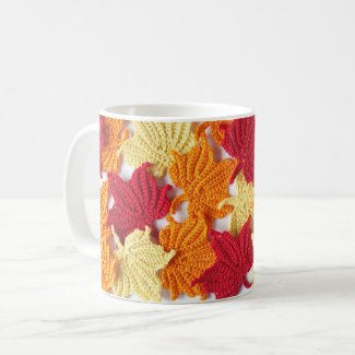 Crochet Maple Leaves Mug