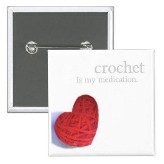 crochet medication heart button