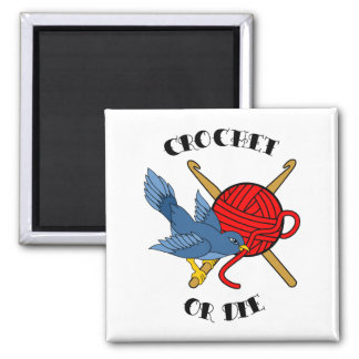 Crochet or Die Tattoo 2 Inch Square Magnet