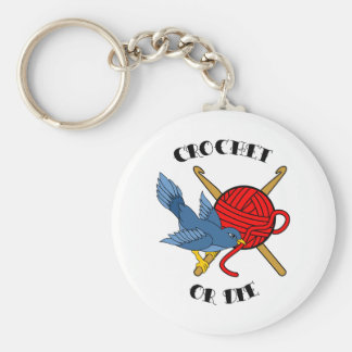 Crochet or Die Tattoo Basic Round Button Keychain