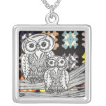 Crochet Owls Silver Plated Necklace