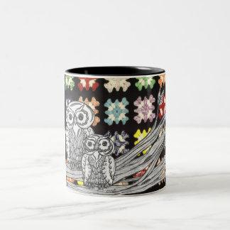 Crochet Owls Two-Tone Coffee Mug