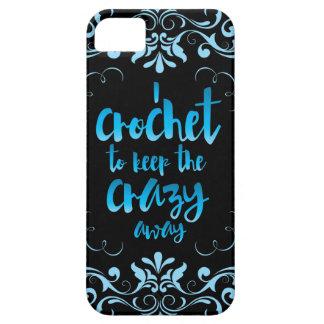 Crochet para guardar el azul ausente loco iPhone 5 carcasas