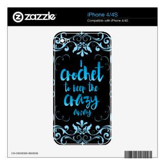 Crochet para guardar el azul ausente loco skins para iPhone 4