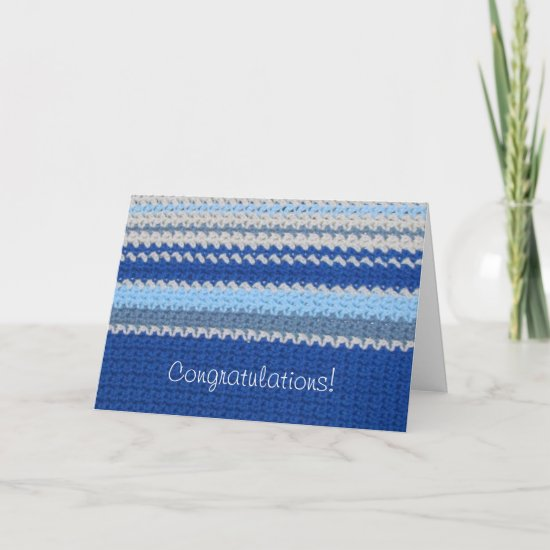 Crochet Pattern - Blue Stripes Card