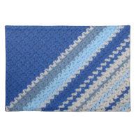 Crochet pattern - blue stripes (diagonal) placemat