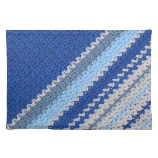 Crochet pattern - blue stripes (diagonal) placemat