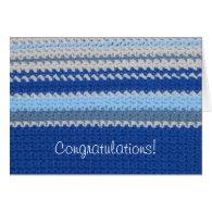 Crochet Pattern - Blue Stripes Greeting Card