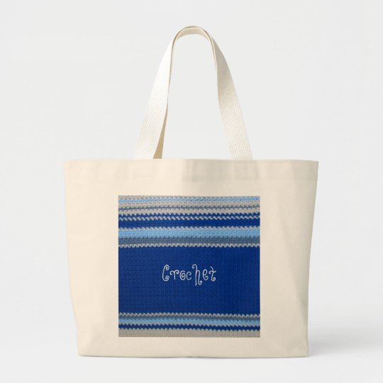 Crochet Pattern - Blue Stripes Large Tote Bag