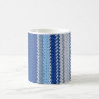 Crochet Pattern - Blue Stripes Classic White Coffee Mug