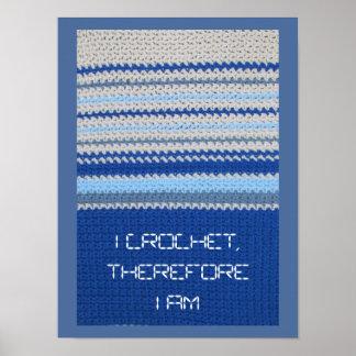 Crochet Pattern - Blue Stripes Poster
