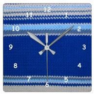 Crochet pattern - blue stripes wallclocks