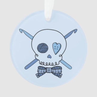 Crochet Skull (Blue Back) Ornament
